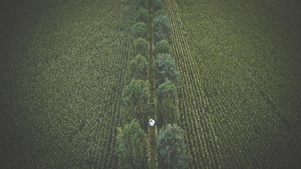 Foto con drone matrimonio